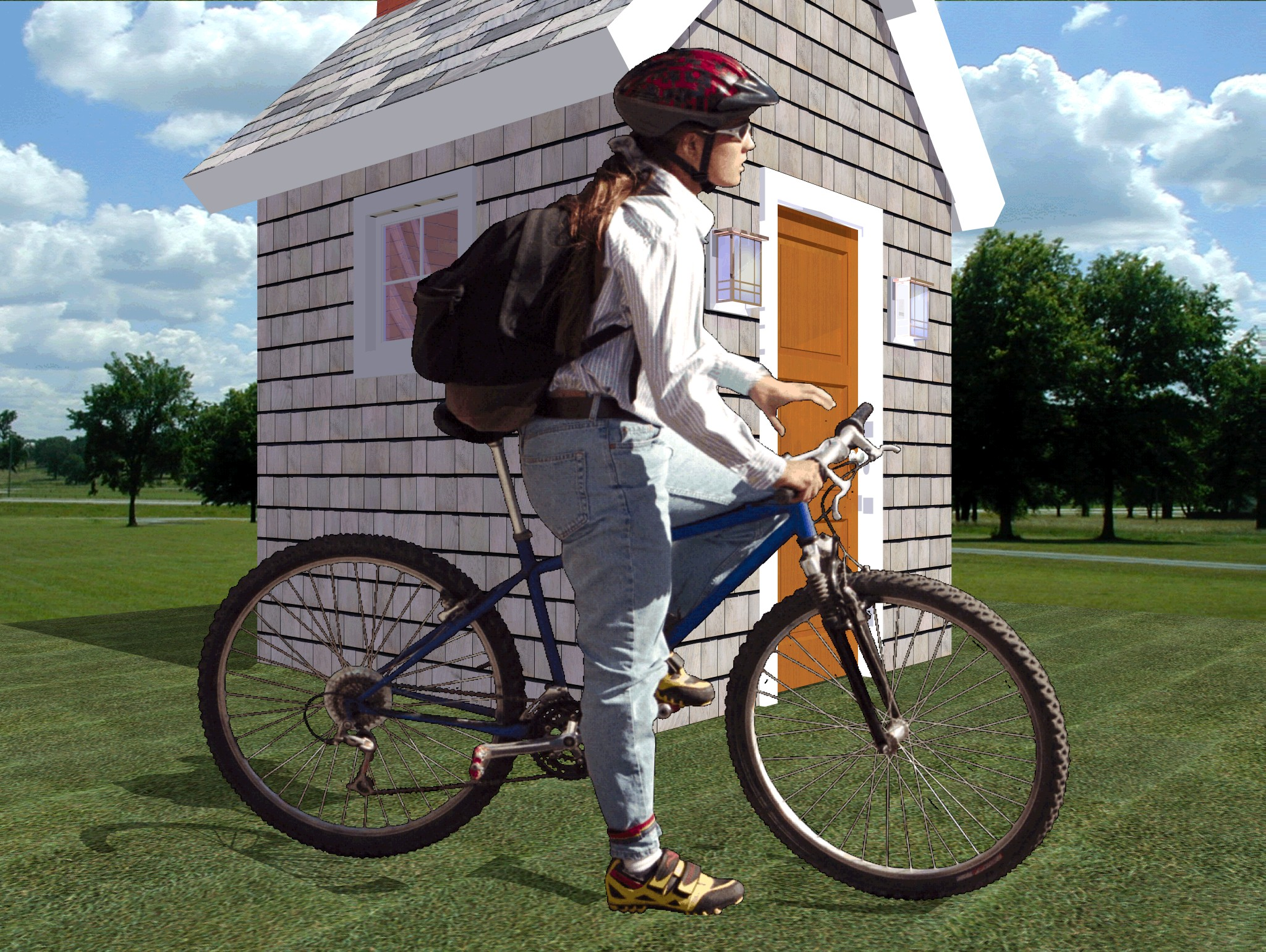 Image of person on bicycle with background rendered transparently